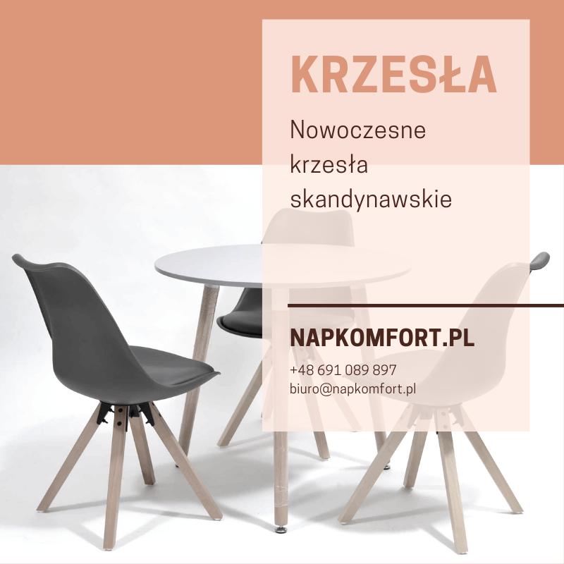 Krzesło w stylu skandynawskim szare + stół