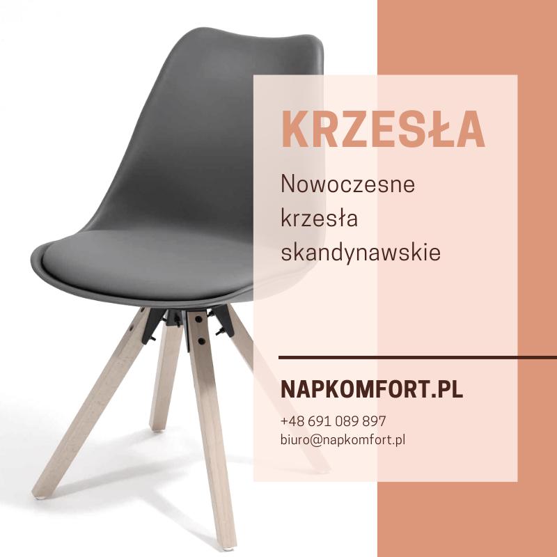 Krzesło w stylu skandynawskim szare z poduszką
