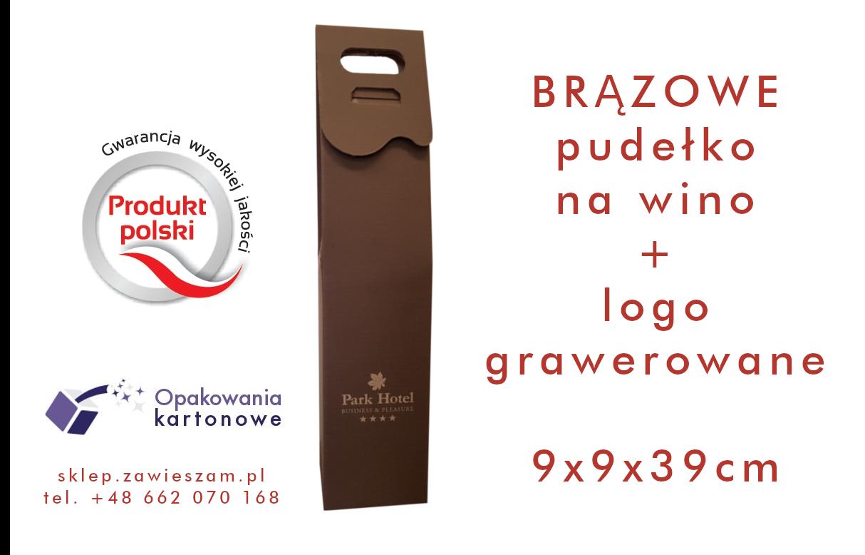 Brązowe pudełko na wino z grawerowanym logo