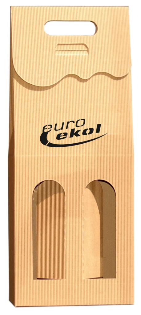 eco Pudełko ozdobne na 2 wina z logo