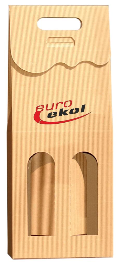 eco Pudełko ozdobne na 2 wina z logo kolor