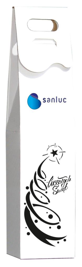 białe Pudełko ozdobne na wino z kolorowym logo
