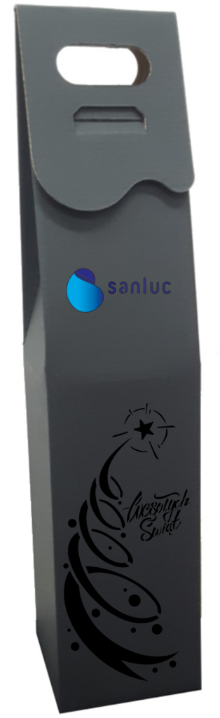 czarne Pudełko ozdobne na wino z logo kolor