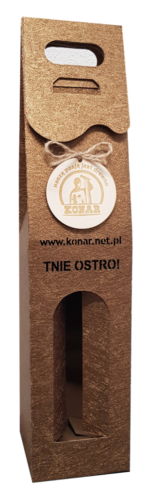 złote Pudełko ozdobne na wino z logo