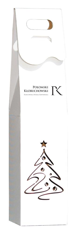 białe Pudełko ozdobne na wino z logo