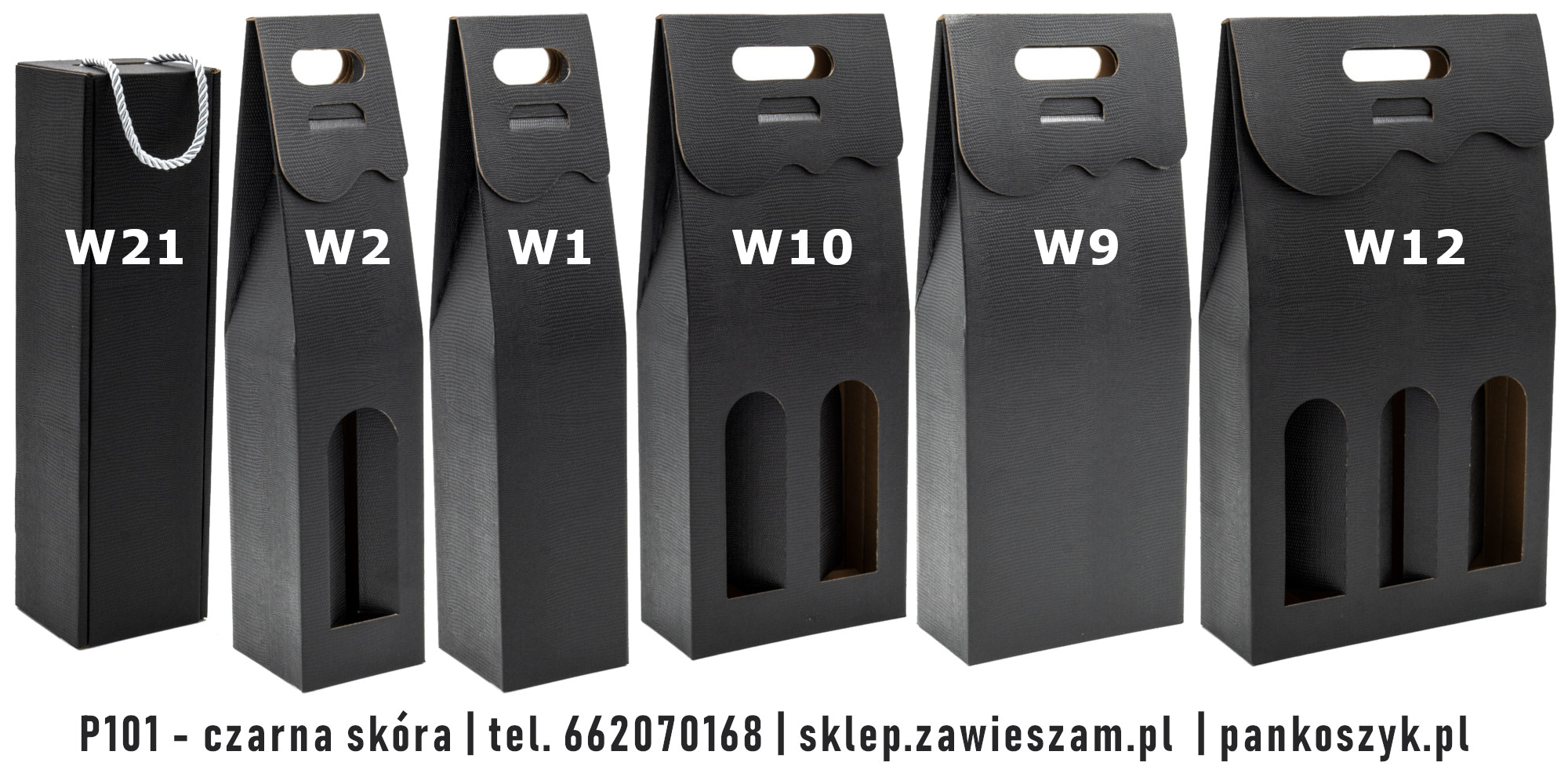 Kolorowe pudełko na butelki P110 - czarna skóra