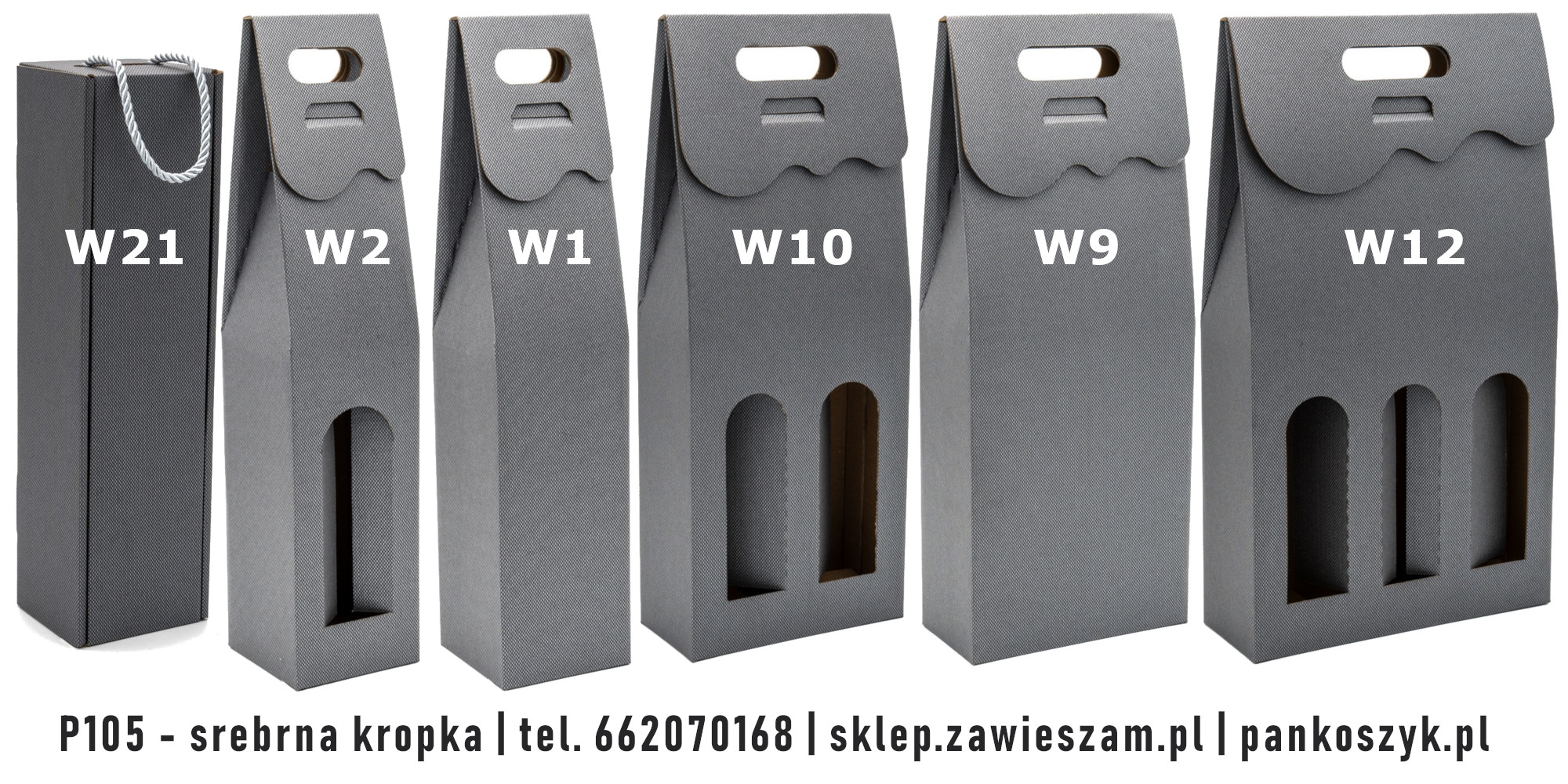 Kolorowe pudełko na butelki P105 - srebrna kropka