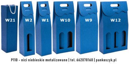 Kolorowe pudełko na butelki P110 - nici niebieskie metalizowane