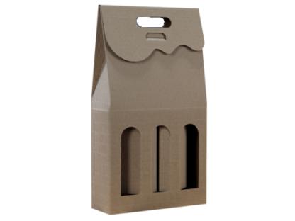Pudełko kartonowe eko na 3 butelki z okienkiem