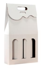 Pudełko kartonowe białe na 3 butelki z okienkiem