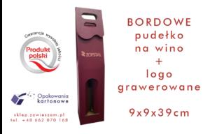 bordowe pudełko na wino z grawerowanym logo