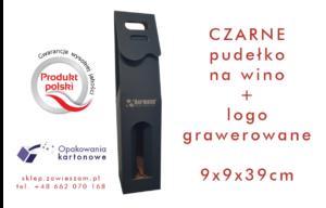 czarne pudełko na wino z grawerowanym logo
