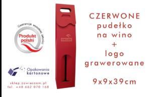 czerwone pudełko na wino z grawerowanym logo