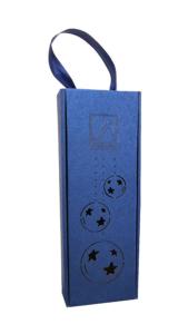 Pudełko niebieskie do wina prostokątne z grawerem