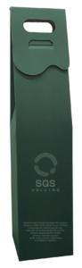 Pudełko na wino zielone z logotypem
