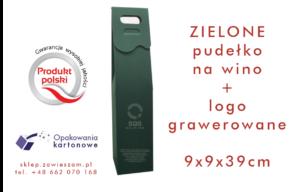 zielone pudełko na wino z grawerowanym logo